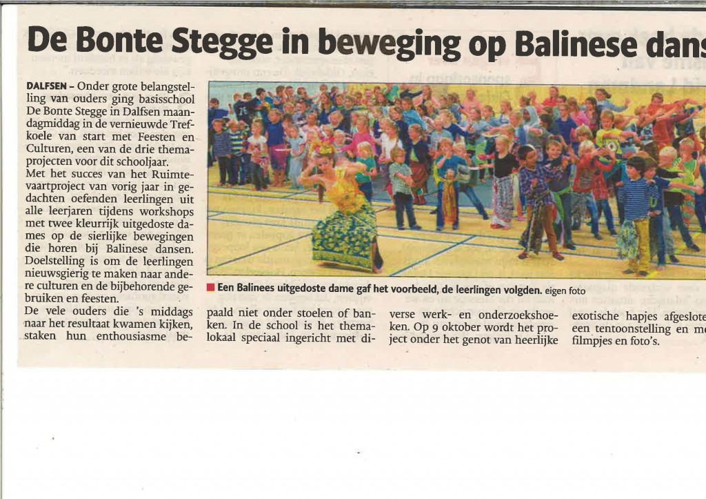 DwiBhumi geeft een workshop Balinese dans op Basisschool De Bonte Stegge in Dalfsen