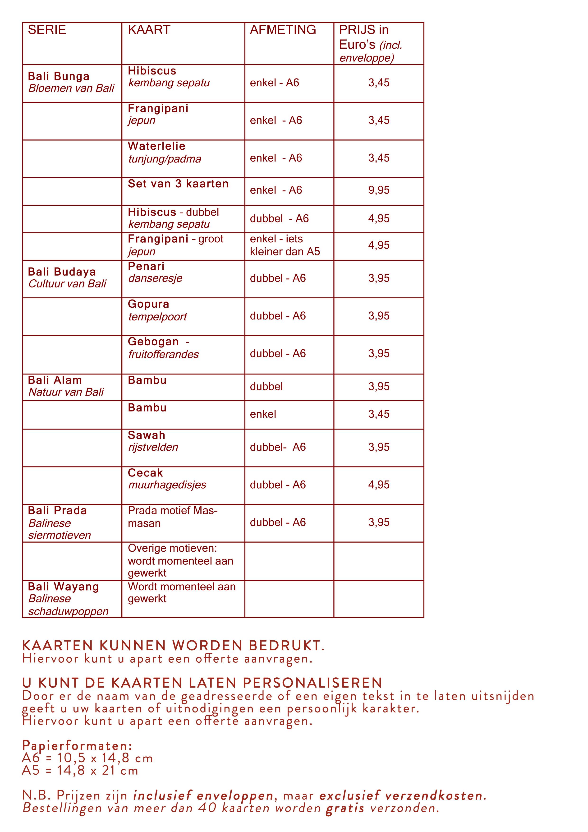 Prijslijst Bali kaartencollectie DwiBhumi