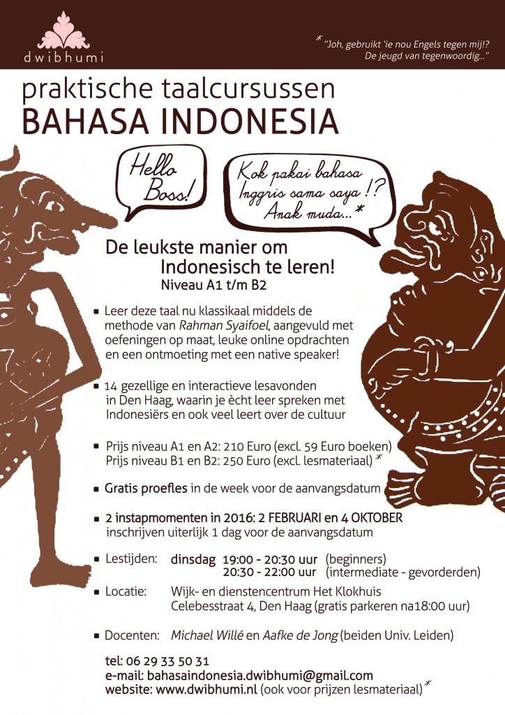 Cursus bahasa Indonesia Den Haag 2016 - DwiBhumi - indonesische taallessen